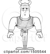 Clipart Of A Black And White Surprised Buff Male Viking Royalty Free Vector Illustration