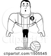 Clipart Of A Black And White Surprised Buff Male Volleyball Player Royalty Free Vector Illustration
