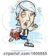 Clipart Of A Tired Running Senior Caucasian College Student Woman Royalty Free Vector Illustration