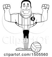 Poster, Art Print Of Black And White Cheering Buff African American Male Volleyball Player