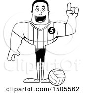 Poster, Art Print Of Black And White Buff African American Male Volleyball Player With An Idea