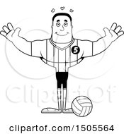 Poster, Art Print Of Black And White Buff African American Male Volleyball Player With Open Arms