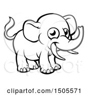 Clipart Of A Black And White Happy Elephant With Tusks Royalty Free Vector Illustration by AtStockIllustration