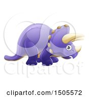 Poster, Art Print Of Cute Purple Triceratops Dino Facing Right