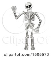 Clipart Of A Cartoon Human Skeleton Waving Royalty Free Vector Illustration