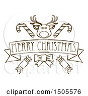 Merry Christmas Banner With A Reindeer Christmas Crackers And Candy Canes