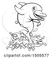 Clipart Of A Black And White Happy Dolphin Jumping Royalty Free Vector Illustration by AtStockIllustration