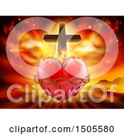 Poster, Art Print Of 3d Sacred Heart With Fire Thorns And A Cross Over Mountains