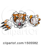 Clipart Of A Vicious Tiger Mascot Slashing Through A Wall With A Baseball Royalty Free Vector Illustration