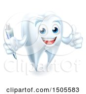 Clipart Of A Tooth Mascot Character Holding A Toothbrush And Giving A Thumb Up Royalty Free Vector Illustration by AtStockIllustration