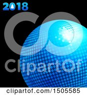 3d Blue Disco Ball With 2018 Text On Black