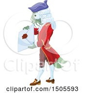 Clipart Of A Fish Footman Holding A Letter Royalty Free Vector Illustration by Pushkin