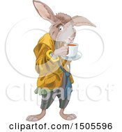 Clipart Of A Rabbit Sipping Tea The March Hare Royalty Free Vector Illustration