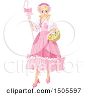 Clipart Of A Blond Shepherdess Woman Bo Peep In A Pink Dress Royalty Free Vector Illustration