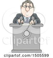Clipart Of A Cartoon White Business Man Or Politician Giving A Speech Royalty Free Vector Illustration by Alex Bannykh