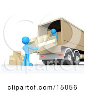Two Blue Male Figures Lifting And Loading Or Unloading A Beige Living Room Sofa And Boxes Into A Brown Moving Truck Clipart Graphic