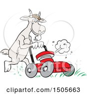 Clipart Of A Goat Pushing A Lawn Mower Royalty Free Vector Illustration