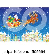 Clipart Of Santa Flying His Sleigh In The Snow Over A Village Royalty Free Vector Illustration