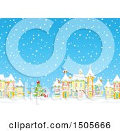Clipart Of A Snowy Day In A Winter Christmas Village Royalty Free Vector Illustration
