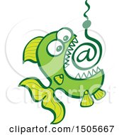 Clipart Of A Green Fish Biting Click Bait Arobase At Email Symbol Royalty Free Vector Illustration