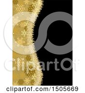 Clipart Of A Golden Tinsel And Snowflake Wave Border Over Black Royalty Free Vector Illustration