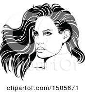Clipart Of A Black And White Woman With Long Hair Royalty Free Vector Illustration by dero