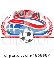 Clipart Of A Stadium Arena And Soccer Ball Design Royalty Free Vector Illustration by Vector Tradition SM