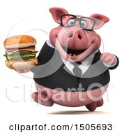 3d Chubby Business Pig Holding A Burger On A White Background