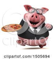 3d Chubby Business Pig Holding A Pizza On A White Background