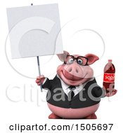 3d Chubby Business Pig Holding A Soda On A White Background