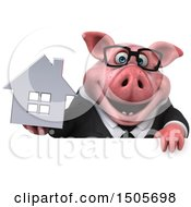 3d Chubby Business Pig Holding A House On A White Background