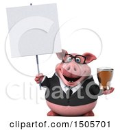 3d Chubby Business Pig Holding A Beer On A White Background