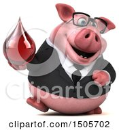 3d Chubby Business Pig Holding A Blood Drop On A White Background