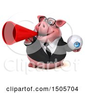 3d Chubby Business Pig Holding An Eyeball On A White Background