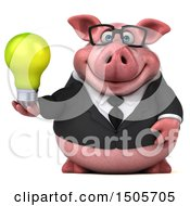 Poster, Art Print Of 3d Chubby Business Pig Holding A Light Bulb On A White Background