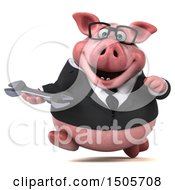 3d Chubby Business Pig Holding A Wrench On A White Background