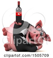 3d Chubby Business Pig Holding A Wine Bottle On A White Background