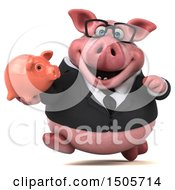 3d Chubby Business Pig Holding A Piggy Bank On A White Background
