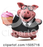 3d Chubby Business Pig Holding A Cupcake On A White Background