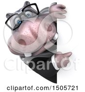 Clipart Of A 3d Business Hippo On A White Background Royalty Free Illustration by Julos