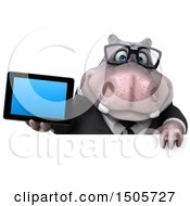 3d Business Hippo Holding A Tablet On A White Background