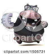 3d Business Hippo Holding A Euro On A White Background
