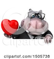 Poster, Art Print Of 3d Business Hippo Holding A Heart On A White Background