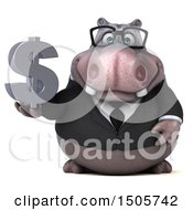 3d Business Hippo Holding A Dollar Sign On A White Background