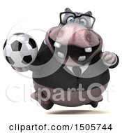3d Business Hippo Holding A Soccer Ball On A White Background