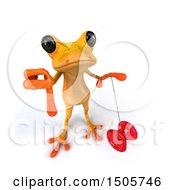 3d Yellow Frog Holding A Yoyo On A White Background
