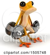 3d Yellow Frog Doing Dumbbell Squats On A White Background