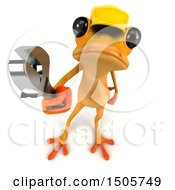 3d Yellow Frog Construction Worker On A White Background