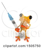Clipart Of A 3d Yellow Frog With A Vaccine Syringe On A White Background Royalty Free Illustration