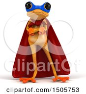 3d Yellow Frog Super Hero On A White Background